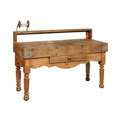 French Butcher Block Table with Single Drawer, Utensil Holder and Carved Apron
