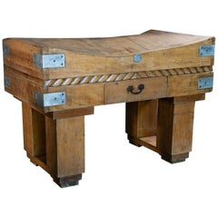 French Butchers Block on Original Stand, Beech, Brown, Early 20th Century