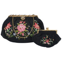 French C.1950 Black Satin Embroidered Handbag With Change Purse