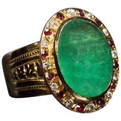 French Cabochon Cut Emerald Diamond Ruby Gold Ring, 1950s
