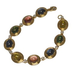 Circa 1970 French Cabochon Tourmaline Diamond 18 Carat Gold Bracelet