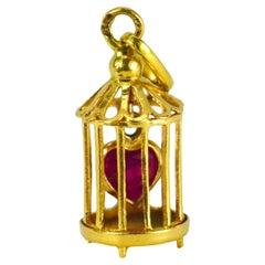French Caged Ruby Heart 18 Karat Yellow Gold Charm Pendant