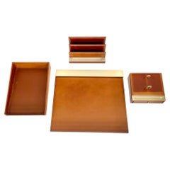 French Camel Leather Desk Set by Le Tanneur