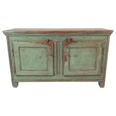 French Canadian Green Painted Country Side Cabinet