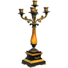 French Candelabra with Black and Yellow Marble Empire Style, France, circa 1850