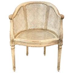 French Cane Back Louis XVI, Directoire Style Desk Armchair