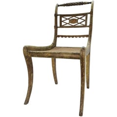 French Cane Bottom Side Chair with Hand Painted Cherub