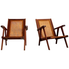 French Caned and Teak Armchairs