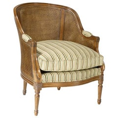 French Caned Vallencourt Armchair, 20th Century