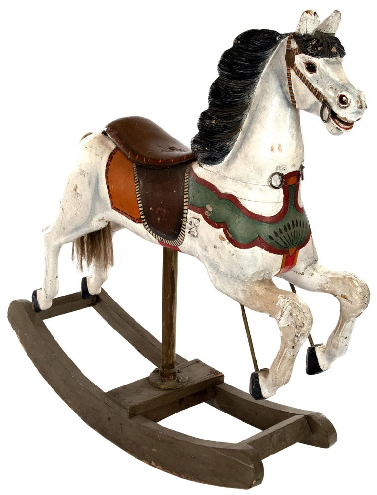 Originally part of a Parisian carousel in the 1880s, this carved wood and polychromed horse was saved when the amusement ride was torn down in the 1920s and repurposed as a rocking horse.