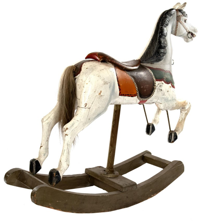 Painted French Carousel Rocking Horse, circa 1885 For Sale