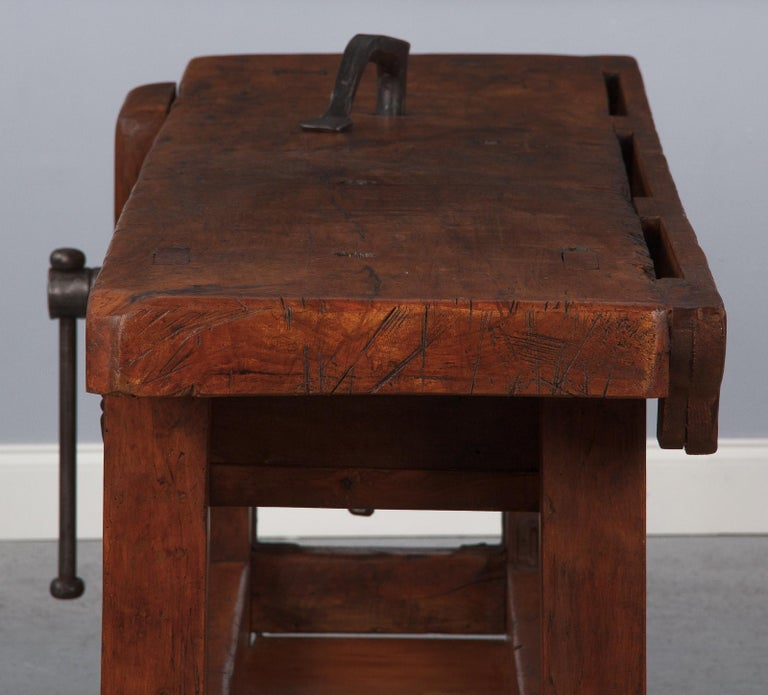French Carpenter's Workbench in Beechwood, Dated 1919 For Sale 6