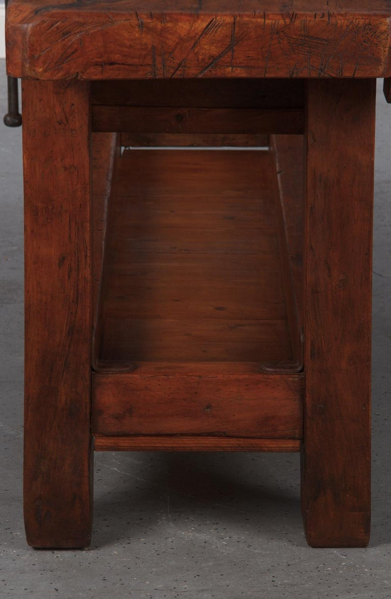 French Carpenter's Workbench in Beechwood, Dated 1919 For Sale 8