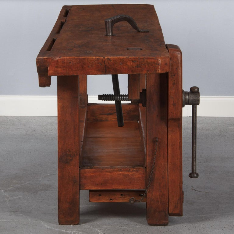 French Carpenter's Workbench in Beechwood, Dated 1919 For Sale 10