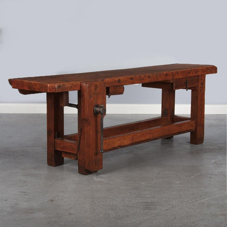 French Carpenter's Workbench in Beechwood, Dated 1919 For Sale 12