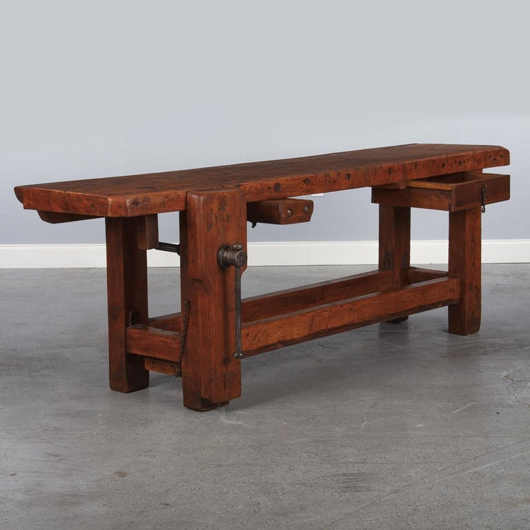French Carpenter's Workbench in Beechwood, Dated 1919 For Sale 13