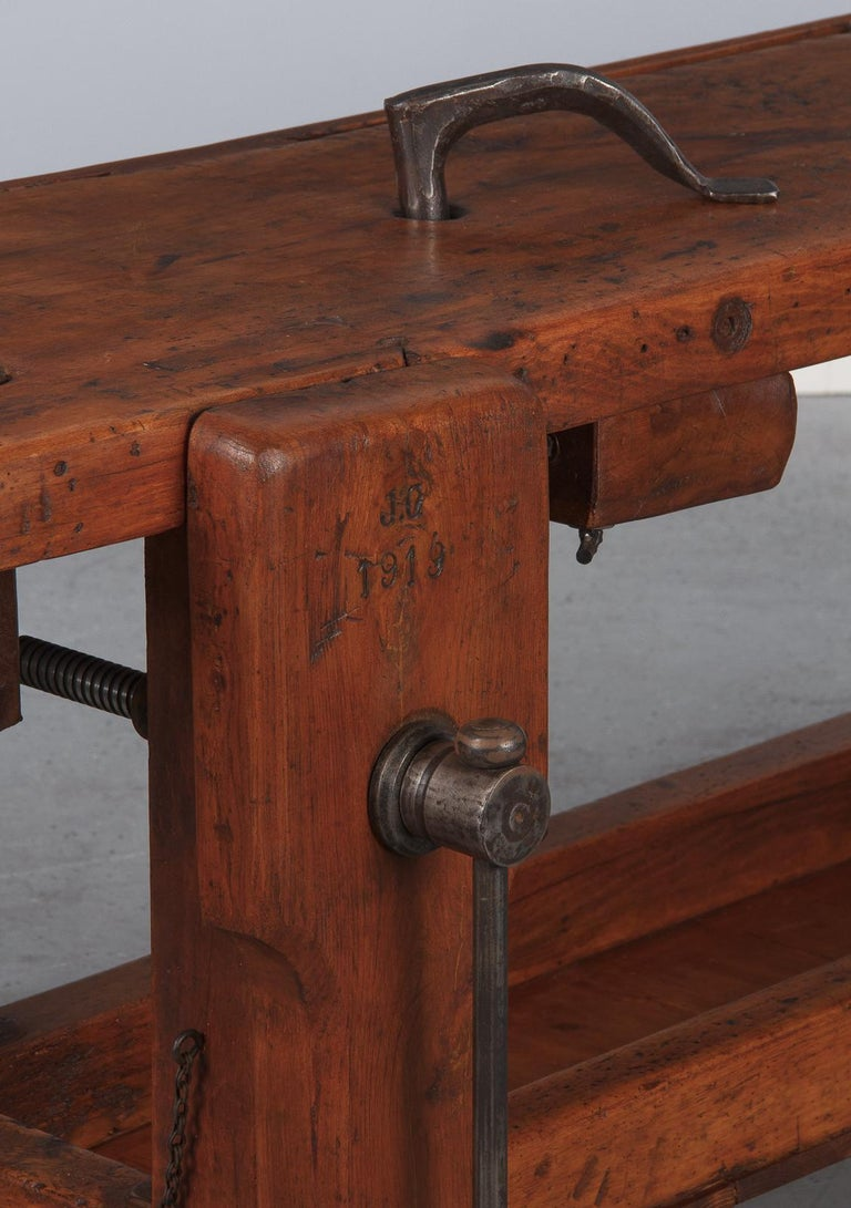 Industrial French Carpenter's Workbench in Beechwood, Dated 1919 For Sale