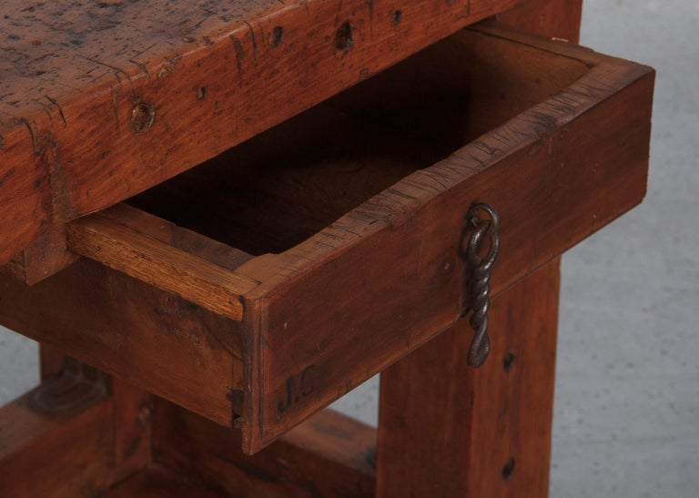 20th Century French Carpenter's Workbench in Beechwood, Dated 1919 For Sale