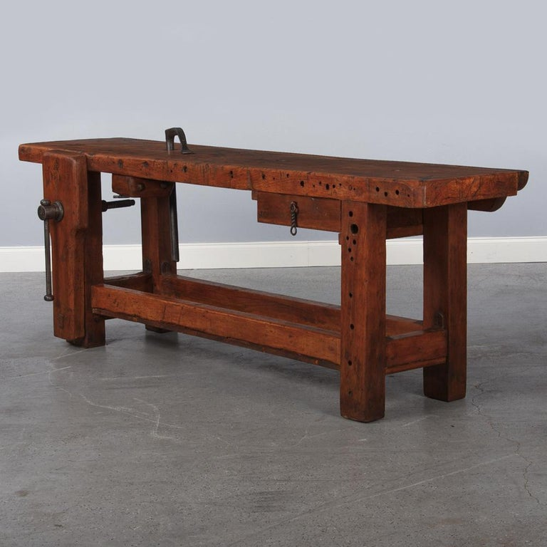 French Carpenter's Workbench in Beechwood, Dated 1919 For Sale 1