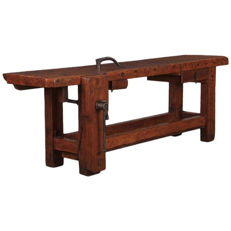 French Carpenter's Workbench in Beechwood, Dated 1919 For Sale