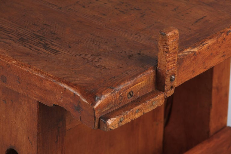 French Carpenter's Workbench in Elm, 1950s For Sale 10