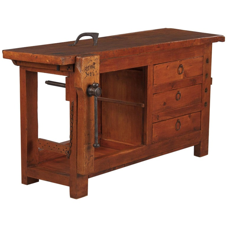 French Carpenter's Workbench in Elm, 1950s For Sale