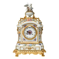 French Carpie Hand Painted Porcelain Mantel Clock