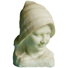 French Carrara Marble Buste of a Young Girl with a Hat