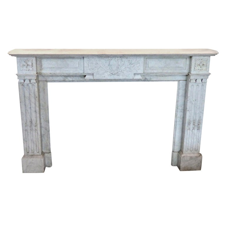 French Carrara Marble Louis XVI Fireplace Mantel Surround, circa 1860 For Sale