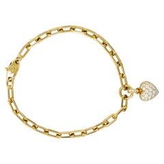 French Cartier 1.00 Carat Pave Diamond 18 Karat Gold Heart Charm Bracelet