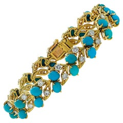 French Cartier Turquoise and Diamond Bracelet, circa 1960