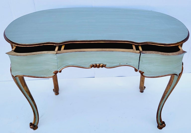 Louis XVI French Carved and Painted Giltwood Kidney Shape Desk / Vanity / Table For Sale