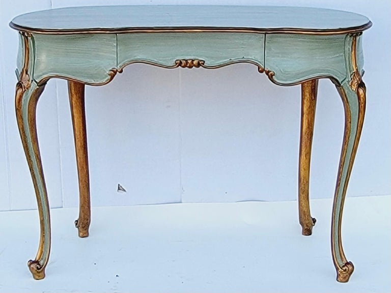 Poplar French Carved and Painted Giltwood Kidney Shape Desk / Vanity / Table For Sale
