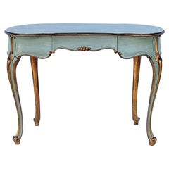 French Carved and Painted Giltwood Kidney Shape Desk / Vanity / Table