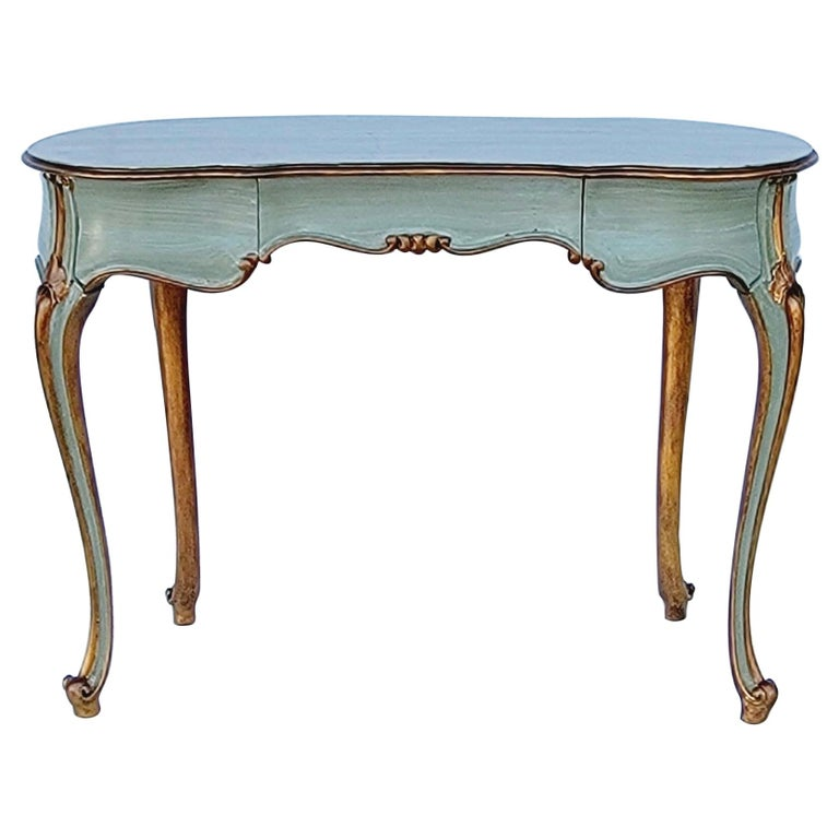 French Carved and Painted Giltwood Kidney Shape Desk / Vanity / Table For Sale