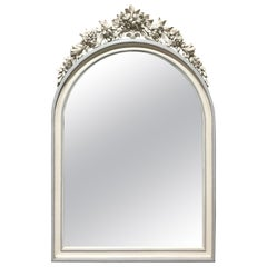 French Carved and Painted Oval Mirror