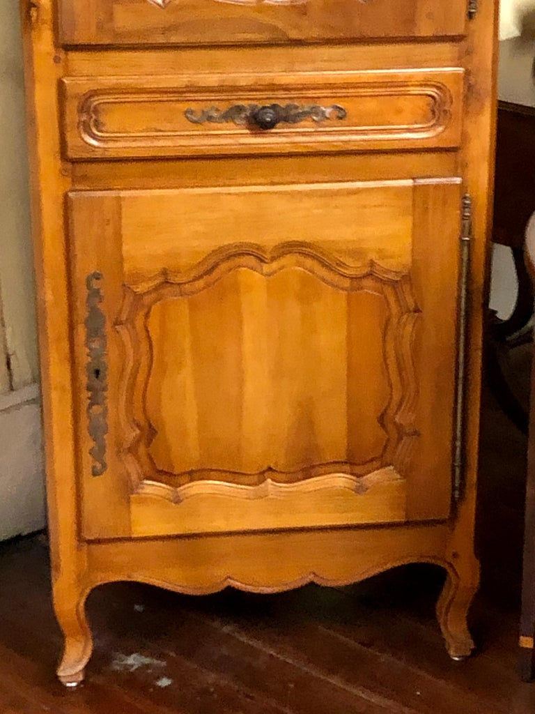French Carved Cherry Louis XV Style Bonnetiere with Superbly Fielded Panel Doors In Good Condition For Sale In Charleston, SC