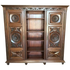 French Carved Chestnut Bookcase/Armoire