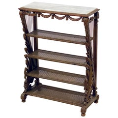 French Carved Étagère with Caned Shelves with Marble Top