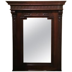French Carved Framed Mirror in Walnut
