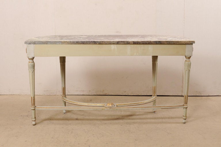French Carved & Gilt Wood Console Table w/Marble Top, Turn of 18th & 19th C. For Sale 6