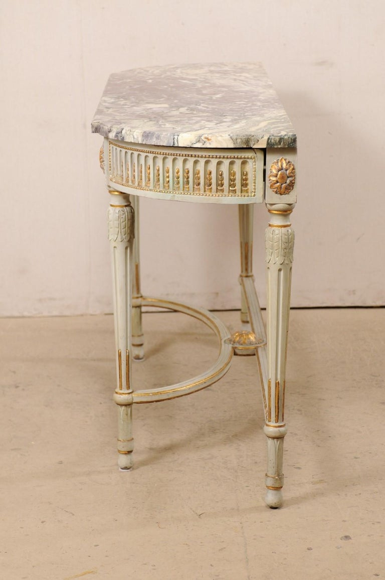 French Carved & Gilt Wood Console Table w/Marble Top, Turn of 18th & 19th C. For Sale 7