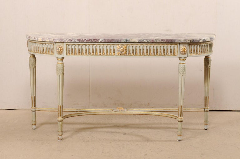 French Carved & Gilt Wood Console Table w/Marble Top, Turn of 18th & 19th C. For Sale 8