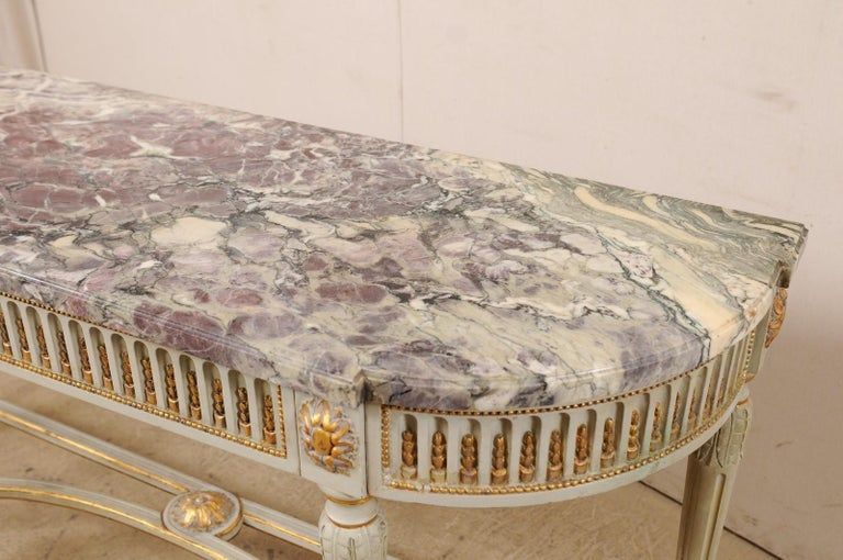 19th Century French Carved & Gilt Wood Console Table w/Marble Top, Turn of 18th & 19th C. For Sale