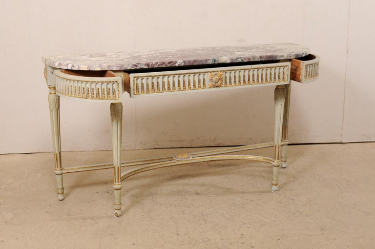 French Carved & Gilt Wood Console Table w/Marble Top, Turn of 18th & 19th C. For Sale 1