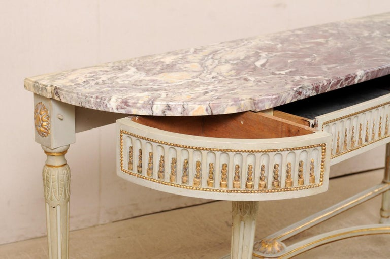 French Carved & Gilt Wood Console Table w/Marble Top, Turn of 18th & 19th C. For Sale 2