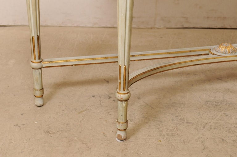 French Carved & Gilt Wood Console Table w/Marble Top, Turn of 18th & 19th C. For Sale 4