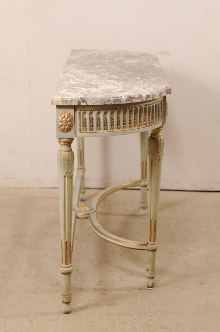 French Carved & Gilt Wood Console Table w/Marble Top, Turn of 18th & 19th C. For Sale 5