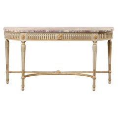 French Carved & Gilt Wood Console Table w/Marble Top, Turn of 18th & 19th C.