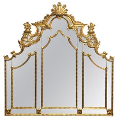 French Carved Giltwood and Mirrored Headboard
